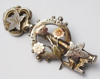 Antique Victorian Sterling Silver Key to My Heart Sweetheart Brooch