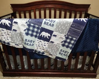 Baby Boy Crib Bedding - Baby Bear, Fletching Arrows, and Navy Crib Bedding Ensemble