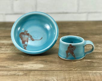 Kid dish set - kid cup and bowl - blue glaze - hockey player!