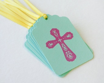 Easter Cross Tag Set 6 Blank holiday tag Blank gift favor goodie tags Baptism