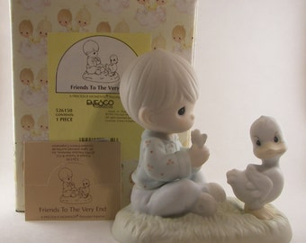 """Precious Moments """"Friends to the Very End"""" Porcelain Figurine - Enesco - Vintage Collectible - Child with Duck - 1993 - Retired - Ship Mark"""