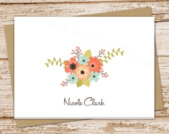 personalized note cards notecards . flowers, floral . womens folded personalized stationery . peach blue flowers . set of 8