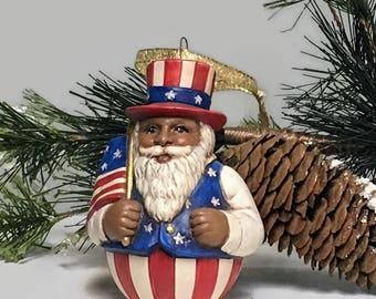 Ceramic African American Patriotic Christmas Ornament