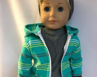 Seafoam Green Striped Zip Up Hoodie 18 inch boy doll clothes