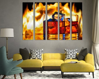 Men cave Whisky decor Canvas Wall Art Canvas Print Wall Art Home Room Decor Multi Panel canvas Home decor Canvas Home interior Whisky glass