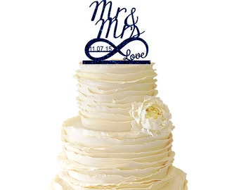 Glitter Infinity Symbol W/ Love - Mr and Mrs - Personalized With Date -  Acrylic Wedding/Special Event Cake Topper - 021