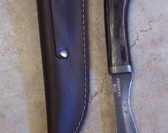 Custom Handmade knife with Damascus Steel single Edged  Style Blade with heavy duty custom leather sheath