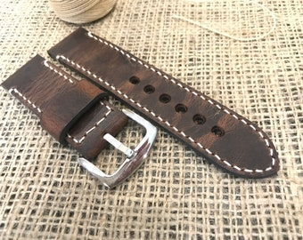 24mm. Vintage Style Brown  Leather Watch Strap