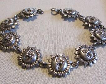 Sterling Silver Sunface Link Bracelet