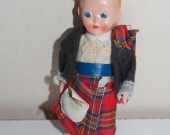 "Scottish Celluloid Boy Doll Kilt 6.5"""