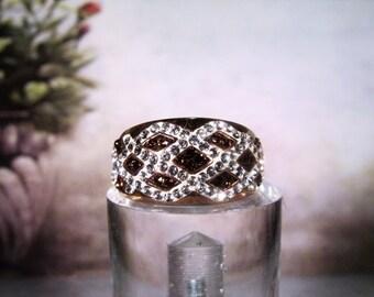 Vintage Ring, Rose Gold Vermeil Ring, Swarovski Crystals, Clear & Chocolate Swarovski Crystal Ring, Rose Gold Band Ring, Geometric Band, S 7