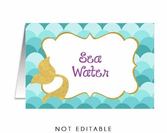 Personalized Mermaid Food Tents, Mermaid Food Label Printables, You Print Under the Sea Buffet Labels, Under the Sea Food Labels