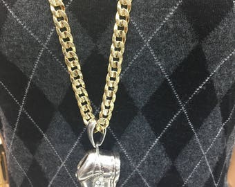 Stainless steel 14 karat gold plated Cuban chain with pendant !