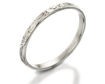Silver Ring, silver Band, Floral Ring, thin silver ring, lace ring, thin ring, silver stacking ring, silver ring for woman, silver ring band