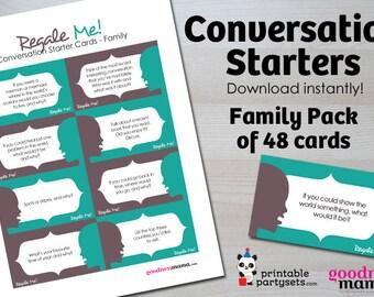 Printable Conversation Starters / Dinner Conversation Starter Cards / Regale Me Cards / Family Dinner Conversation Cards / Table Talk Cards