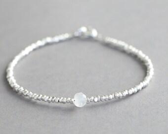 Moonstone Bracelet With Karen Hill Tribe Silver Beads Stacking Bracelet Gemstone Bracelet