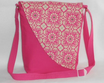Crossbody Bag - Pink Base with Pink Floral Pattern Flap