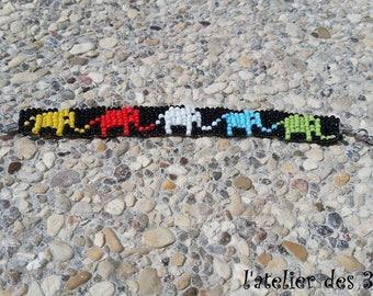 Woven beaded elephant bracelet