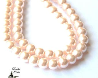 110 pale pink pearl glass 8mm beads