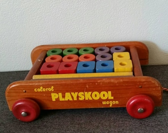 Playskool Wood Wagon Pull Toy with Wood Blocks Vintage Wood Toy