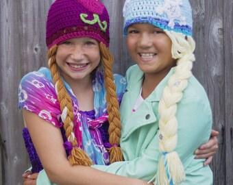 frozen crochet pattern, frozen crochet hat, elsa crochet hat pattern, anna crochet hat pattern, frozen hat pattern, immediate download