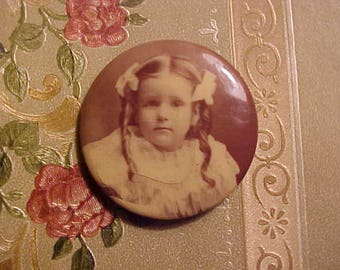 Vintage 1900s EDWARDIAN Photo Photography Pin Celluloid DARLING Girl/Child Sweet Remberance