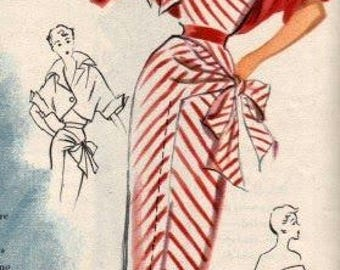 1950s Vintage Sewing Pattern B32 DRESS & JACKET (R777) By Modes Royale 882