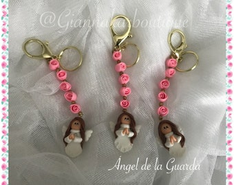 Guardian Angel Keychain. Set of 3, Remembrance of baptism, memory of First Communion, remembrance of Confirmation, souvenir, free shipping