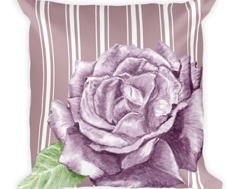 Shabby Chic Purple Rose on Dusty Purple Stripes Square Pillow