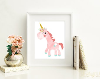 8x10 11x14 DIGITAL Unicorn print, unicorn watercolor, unicorn wall art, unicorn art, unicorn room decor, unicorn nursery, Pink unicorn