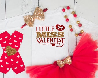 LITTLE MISS VALENTINE Baby Girl Tutu Outfit,First Valentines day, Baby Girl Valentine's Day Set, Baby Valentines Outfit