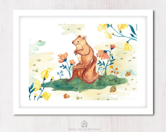 Watercolour Digital Wall Art , Nursery Decor, Baby Shower Gift- Hand Painted- Sweet Squirrel 2 Wall Art Printables