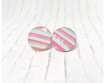 Blue and pink earrings polymer clay jewelry stripe earrings nickel free earrings lightweight earrings girl gift pink and blue earrings