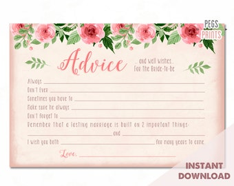 Bridal Advice Cards // Instant Download // Advice for the Bride Cards // Advice for the Bride and Groom // Advice Cards for Bridal Shower
