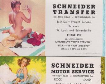 3 Vintage Ink Blotters,  1959-1962, Gil Elvgren, Schneider Transfer, Edwardsville, IL  Advertising....FREE SHIPPING!