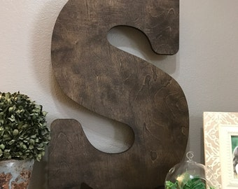 "Choose Your Letter- Large Wooden Letter Cutout, 12""- 24"" Tall Wood Letter, Large Stained Wooden Letter Wall Decor"
