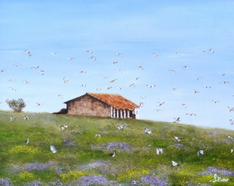 landscape, house, birds, oils, blue sky, framed, painting, original, countryside, fine art, oil painting, oil on canvas