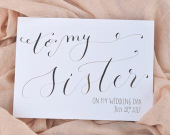 To My Sister On My Wedding Day Card | Sister Card, Maid of Honor Card or Sister-in-law card  | Future Sister Card | Wedding Family Card