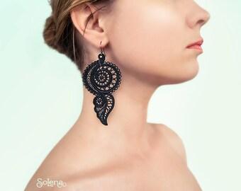 Long Matte black earrings Mystery | Lace evening jewellery |  big bohemian earring  | Gothic fashion | vintage style | Feather | frivolite
