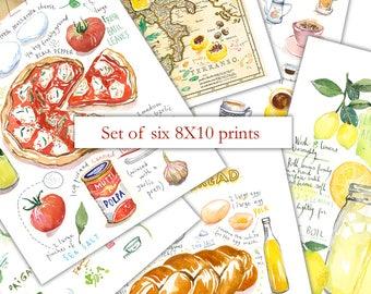 Set of 6 prints, 8X10 prints, Wall art set of 6, Watercolor painting, Kitchen art print set, Apartment decor, Food artwork, Kitchen wall art