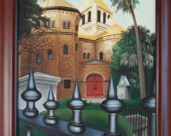 The Circular Church Oil Painting, architecture by Velma Serrano