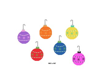 Plastic Canvas 6 Colorful Christmas Ornaments Instant Download