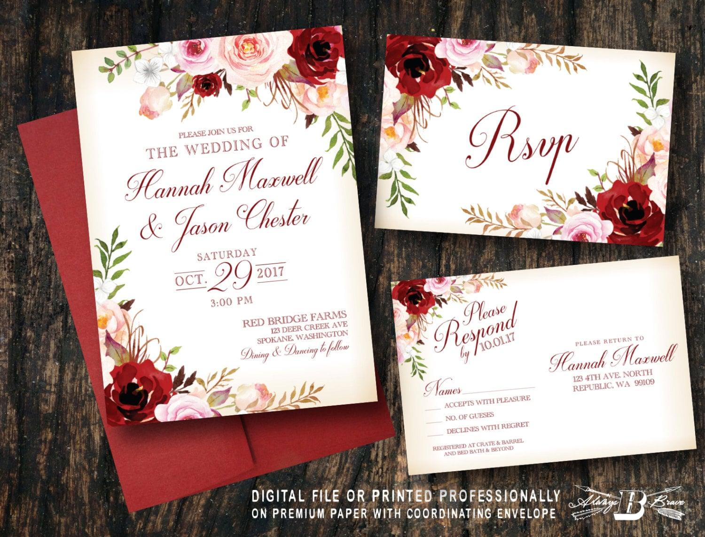 Red blush floral wedding invitation set pink flowers vintage zoom stopboris Choice Image
