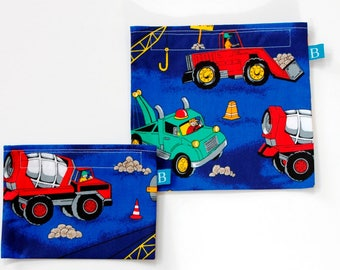 Reuseable Eco-Friendly Set of Snack and Sandwich Bags in Construction Vehicles Fabric