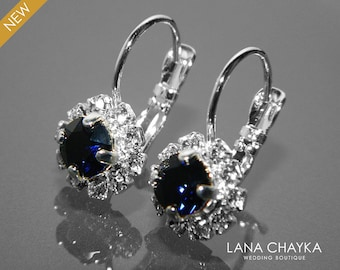 Dark Navy Blue Halo Crystal Earrings, Swarovski Dark Indigo Silver Earrings, Dark Navy Blue Leverback Earrings, Bridal Bridesmaids Jewelry
