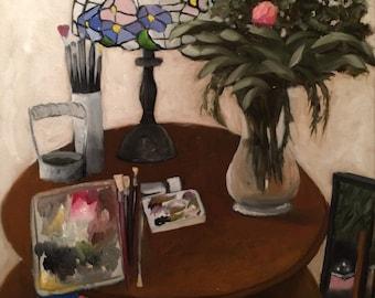 painting of Art Table, still life, oil by Velma Serrano