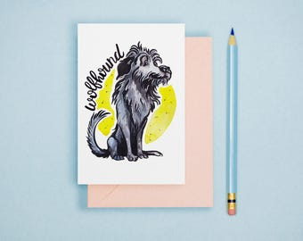 Wolfhound Illustration Print - Dog Lover Gift, Animal Postcard, Animal Print, Dog Breed Postcard, Cute Greeting Card, Art Print, Wall Art