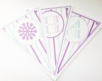 SAMPLE SALE - 70% OFF - Snow #Princess Party Banner - Snowflake #Banner - Clearance Sale