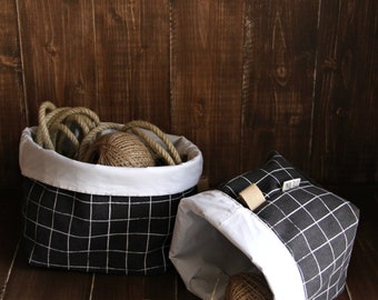 Storage Baskets - Canvas Fabric Baskets - Set of 3 - Organizer - Screen Printed