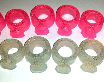 Ring Soap - Glitter Diamond Rings - Set of 6 Assorted Sizes - Free U.S. Shipping - Engagement - Soap for Girls - Party Favors - Birthdays